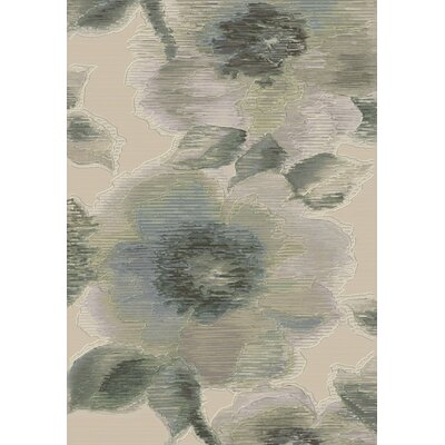 Eclipse Grey Floral Area Rug Rug Size: Rectangle 53 x 77
