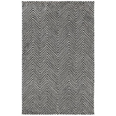 Celeste Chevron Hand-Tufted Black Area Rug Rug Size: 8 x 11