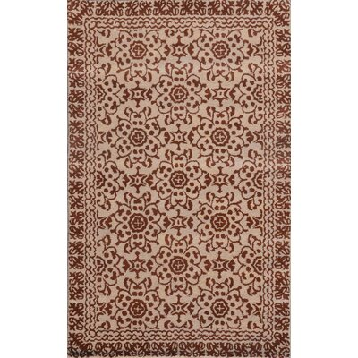 Sapphire Chocolate / Beige Floral Area Rug Rug Size: 8 x 11