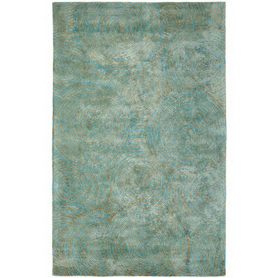 Celeste Aqua / Gold Geometric Rug Rug Size: Rectangle 5 x 8