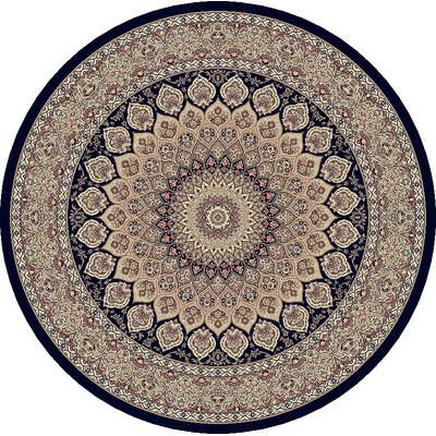 Ancient Garden Persian Navy Area Rug Rug Size: Round 710