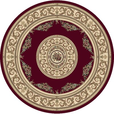Ancient Garden Persian Red / Ivory Area Rug Rug Size: Round 53