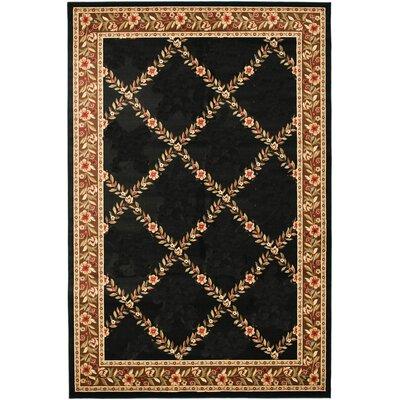 Yazd Oriental Black/Brown Area Rug Rug Size: 710 x 1010