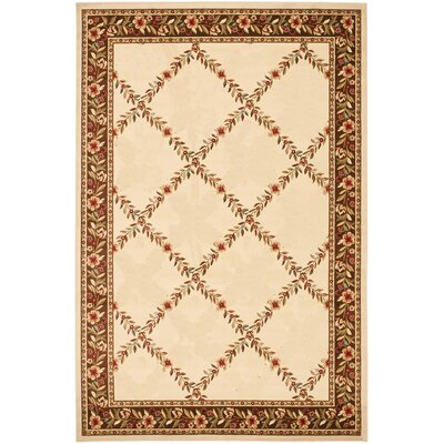 Yazd Geometric Ivory/Brown Area Rug Rug Size: 53 x 77