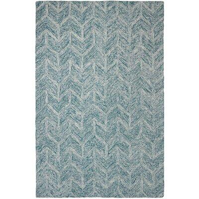 Polar Ivory/Jade Chervon Area Rug Rug Size: 36 x 56