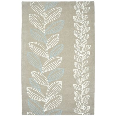 Palace Grey/Ivory Floral Area Rug Rug Size: 96 x 136
