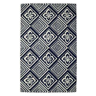 Palace Blue/Ivory Geometric Area Rug Rug Size: 5 x 8