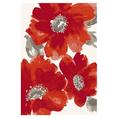 Martin Ivory/Red Floral Area Rug Rug Size: Rectangle 710 x 1010