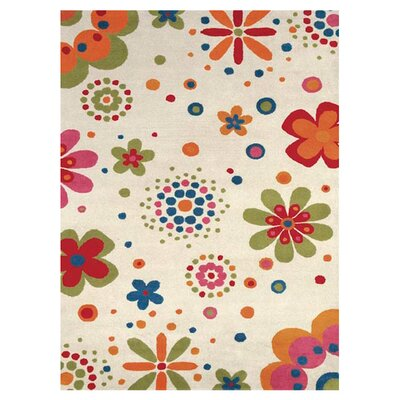 Fantasia Fan Girls Beige Bouquet Area Rug Rug Size: 3 x 5