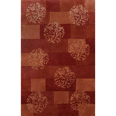 Symphony Red Floral Circles Area Rug Rug Size: Rectangle 67 x 96