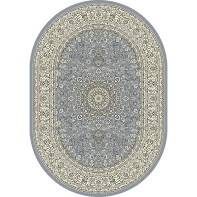 Attell Steel Blue/Cream Area Rug Rug Size: Oval 53 x 77