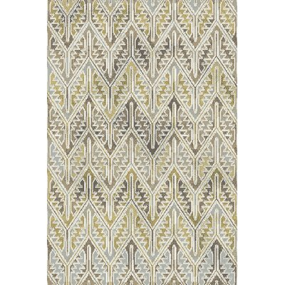 Royal Treasure Gray/Yellow Area Rug Rug Size: Rectangle 36 x 56