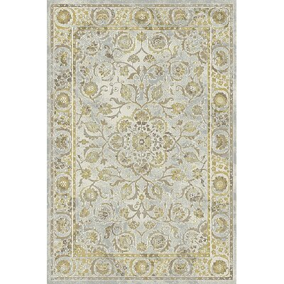 Royal Treasure Light Gray/Yellow Area Rug Rug Size: Rectangle 36 x 56