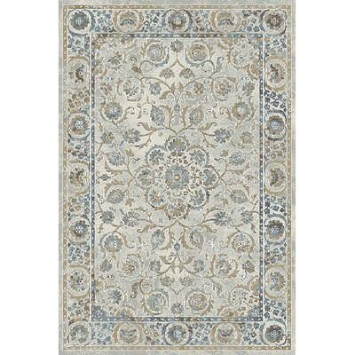Royal Treasure Light Gray/Blue Area Rug Rug Size: 53 x 77