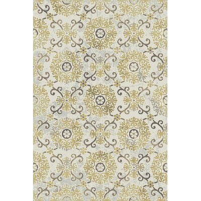 Royal Treasure Ivory/Yellow Area Rug Rug Size: 36 x 56