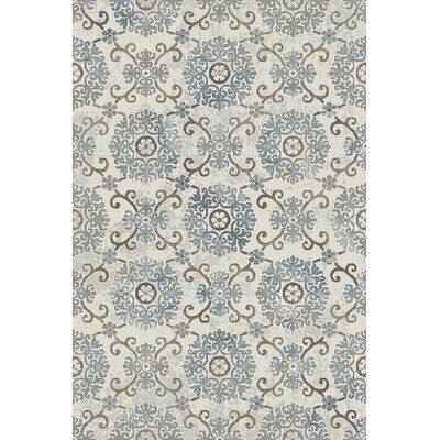 Royal Treasure Ivory/Blue Area Rug Rug Size: 36 x 56