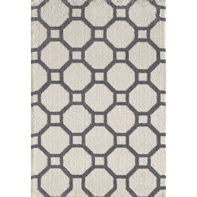 Silky White/Gray Area Rug Rug Size: Rectangle 53 x 77