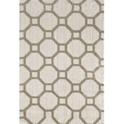 Silky White/Beige Area Rug Rug Size: Rectangle 311 x 57