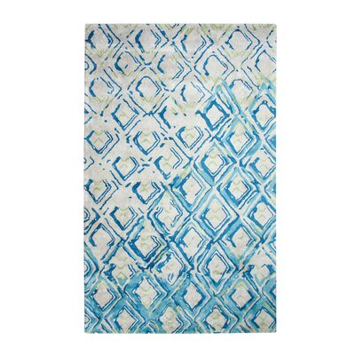 Vogue Hand-Woven Gray/Turquoise Area Rug Rug Size: Rectangle 67 x 96