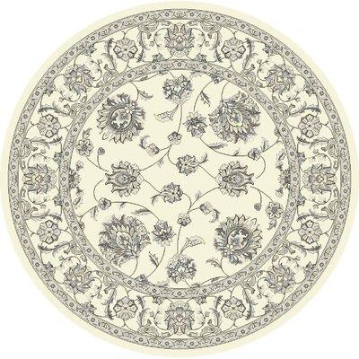 Attell Oriental Cream Area Rug Rug Size: Round 53