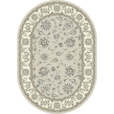 Ancient Garden Soft Gray/Cream Area Rug Rug Size: Oval 67 x 96