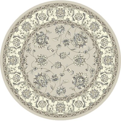 Ancient Garden Soft Gray/Cream Area Rug Rug Size: Round 710