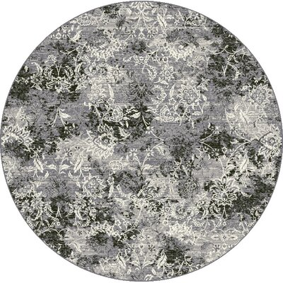 Ruby Gray Area Rug Rug Size: Round 53