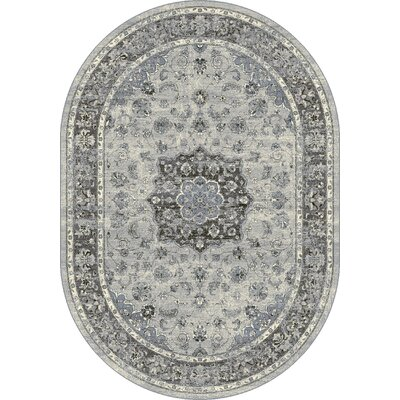 Ancient Garden Silver/Gray Area Rug Rug Size: Oval 67 x 96