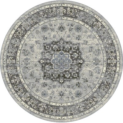 Attell Silver/Gray Area Rug Rug Size: Round 53