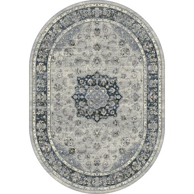 Ancient Garden Gray Area Rug Rug Size: Oval 53 x 77