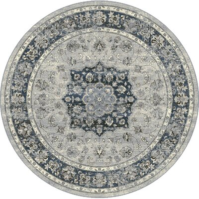 Attell Oriental Gray Area Rug Rug Size: Round 53