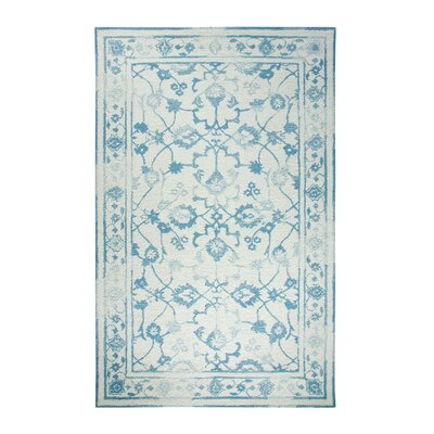 Avalon Ivory/Light Blue Area Rug Rug Size: Rectangle 92 x 126