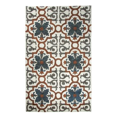 Casual Rust/Blue Hand Woven Area Rug Rug Size: Rectangle 36 x 56