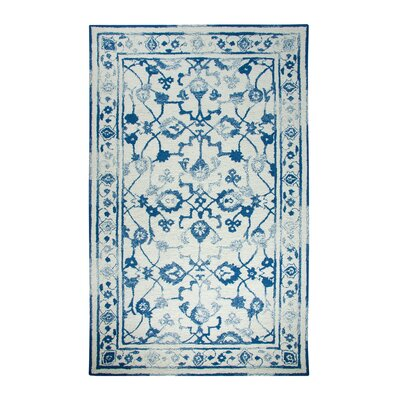 Avalon Ivory/Dark Blue Area Rug Rug Size: 92 x 126