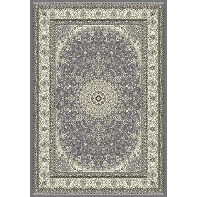 Ancient Garden Gray/Cream Area Rug Rug Size: 53 x 77