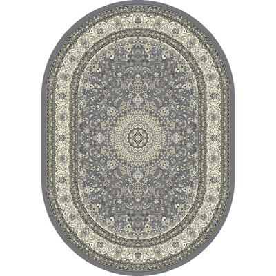 Ancient Garden Gray/Cream Area Rug Rug Size: Oval 53 x 77