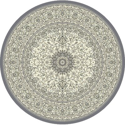 Ancient Garden Gray/Cream Area Rug Rug Size: Round 53