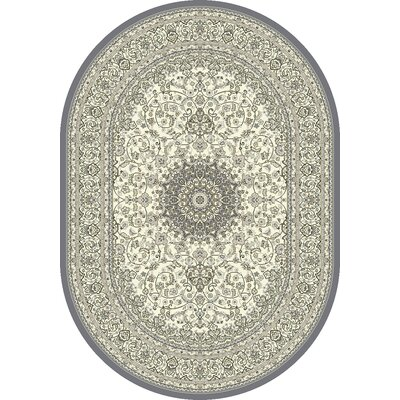 Attell Oriental Cream/Gray Area Rug Rug Size: Oval 53 x 77
