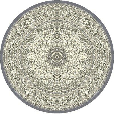 Attell Oriental Cream/Gray Area Rug Rug Size: Round 53