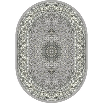 Attell Soft Gray/Cream Area Rug Rug Size: Oval 27 x 47