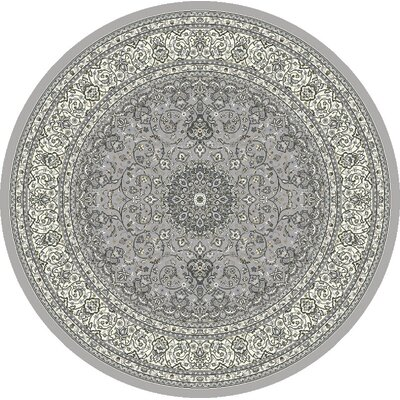 Attell Soft Gray/Cream Area Rug Rug Size: Round 710