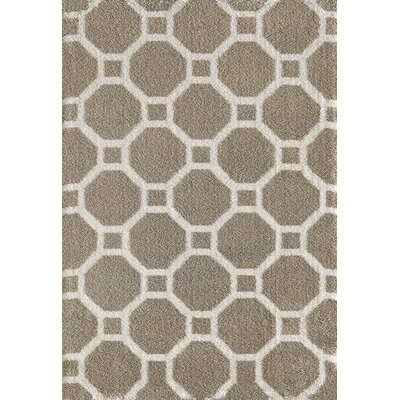 Silky Beige Area Rug Rug Size: Rectangle 53 x 77