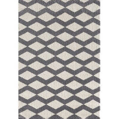 Silky White/Gray Area Rug Rug Size: Rectangle 67 x 96
