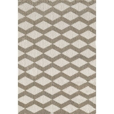 Silky White/Beige Area Rug Rug Size: Rectangle 92 x 1210