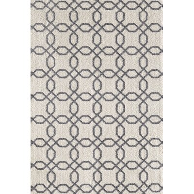 Silky White/Gray Area Rug Rug Size: Rectangle 311 x 57