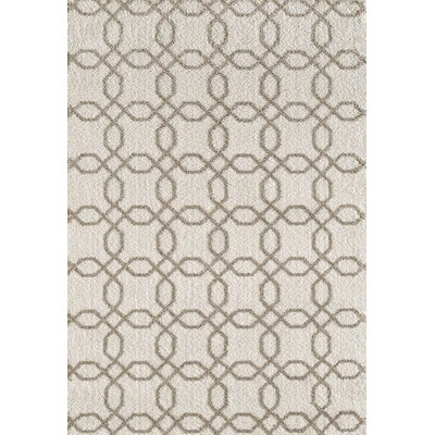 Silky White/Beige Area Rug Rug Size: Rectangle 53 x 77