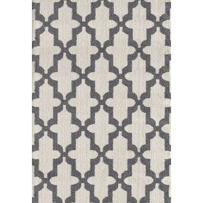 Silky White/Gray Area Rug Rug Size: Rectangle 710 x 1010