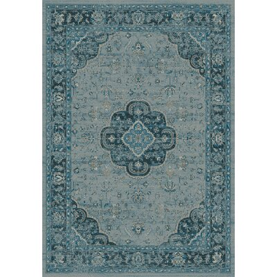 Regal Light Blue Area Rug Rug Size: 53 x 77