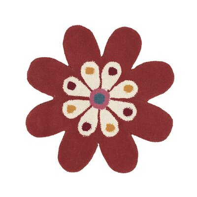 Fantasia Hand-Tufted Wool Red/Gold/Green Flower Area Rug Rug Size: Novelty 2 x 2