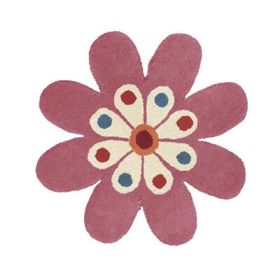 Fantasia Hand-Tufted Wool Light Pink Flower Area Rug Rug Size: Novelty 2 x 2